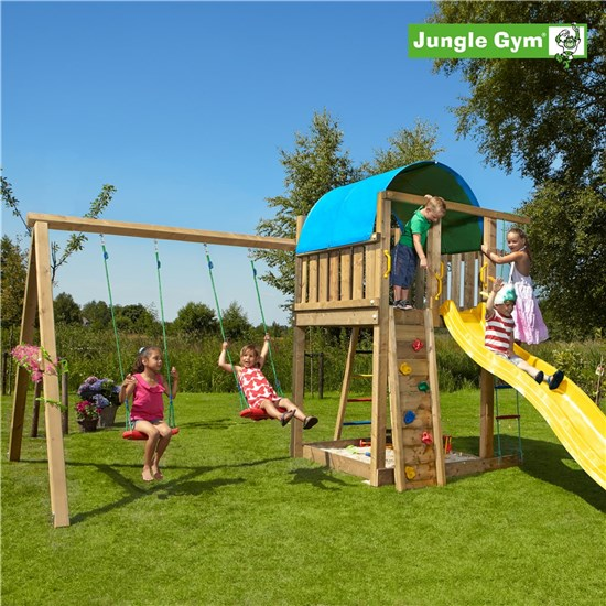 Legetårn komplet Jungle Gym Villa inkl. Swing module x'tra ekskl. rutschebane