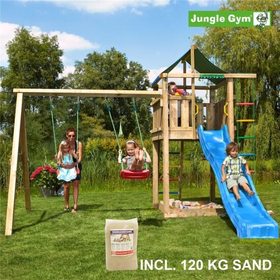 Legetårn komplet Jungle Gym Lodge inkl. Swing module x'tra, 120 kg sand og blå rutschebane