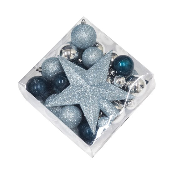 Julekugle sæt med stjerne NORDIC WINTER blå/sølv 50 dele