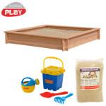NORDIC PLAY Sandkasse lærk 150x150 cm med 240 kg sand og blåt strandsæt
