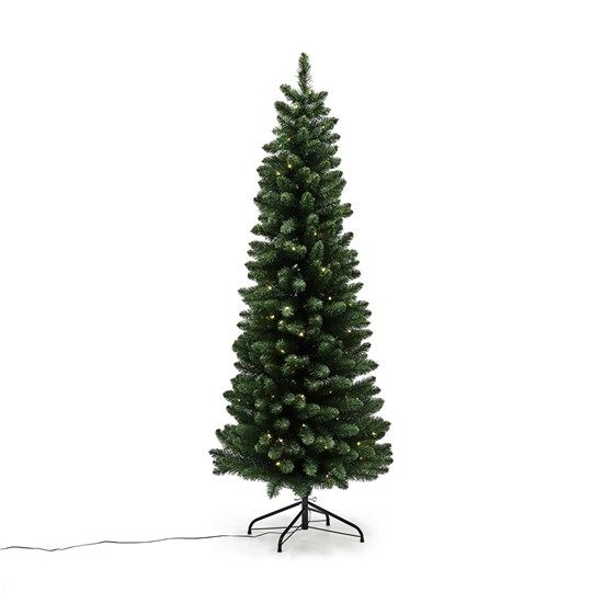 Kunstig smalt juletræ 180 cm med lys