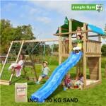 Legetårn komplet Jungle Gym Fort inkl. Climb module x'tra, 120 kg sand og blå rutschebane