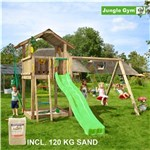 Legetårn komplet Jungle Gym Chalet inkl. Swing module x'tra, 120 kg sand og grøn rutschebane
