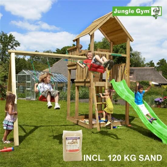 Legetårn komplet Jungle Gym Palace inkl. Swing module x'tra, 120 kg sand og grøn rutschebane