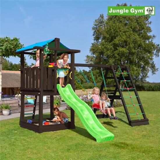 Legetårn komplet Jungle Gym Hut inkl. Climb module x'tra og rutschebane, grundmalet sort