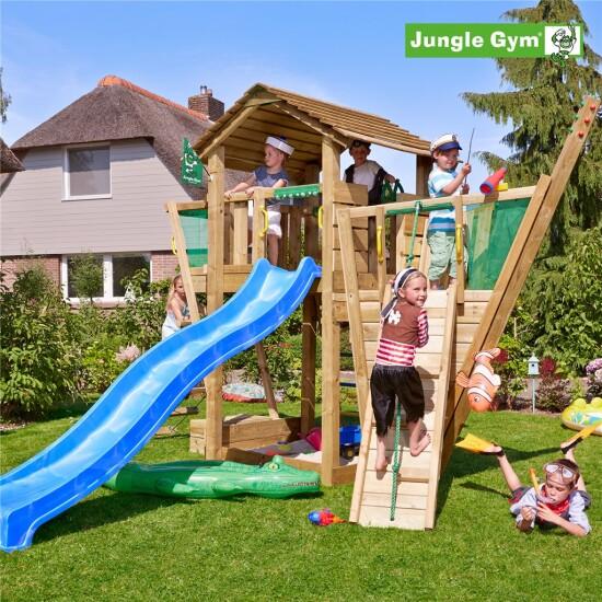 Legetårn komplet Jungle Gym Cottage inkl. boat module ekskl. rutschebane