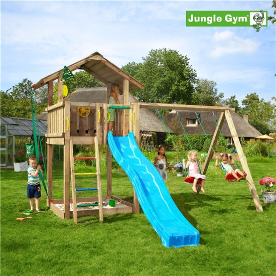 Legetårn komplet Jungle Gym Chalet inkl. Swing module x'tra og rutschebane