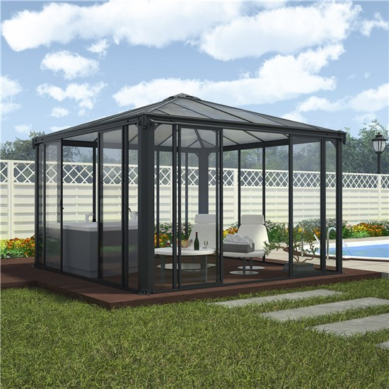 Havepavillon lukket PALRAM Ledro 3000, antracitgrå