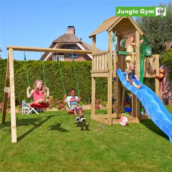 Legetårn komplet Jungle Gym Mansion inkl. Swing module x'tra ekskl. rutschebane