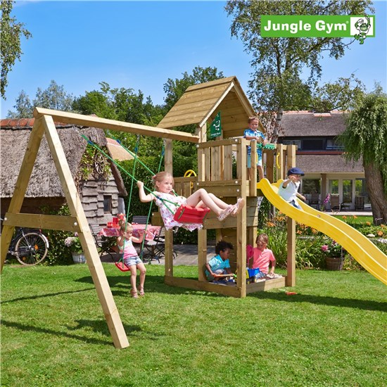 Legetårn komplet Jungle Gym Cubby inkl. Swing module x'tra og rutschebane
