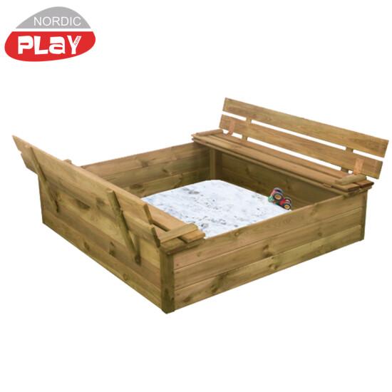 NORDIC PLAY sandkasse 120x120 cm med vippelåg og bænk og 240 kg Certificeret sand