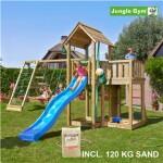 Legetårn komplet Jungle Gym Mansion inkl. Climb module x'tra, 120 kg sand og blå rutschebane