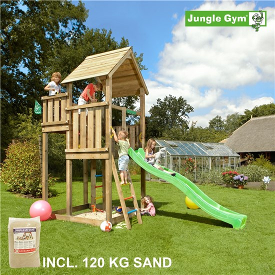 Legetårn komplet Jungle Gym Palace inkl. 120 kg sand og grøn rutschebane