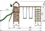Jungle Gym Safari med klatrestativ, 2 gynger og mørkegrøn rutsjebane