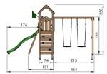 Jungle Gym Safari med gyngestativ, 2 gynger og mørkegrøn rutsjebane