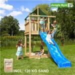 Legetårn komplet Jungle Gym Lodge inkl. 120 kg sand og blå rutschebane