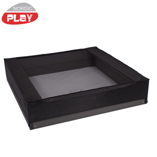 NORDIC PLAY Sandkassenet, 120x120x20 cm, sort