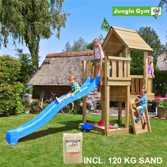 Legetårn komplet Jungle Gym Cubby inkl. 120 kg sand og blå rutschebane