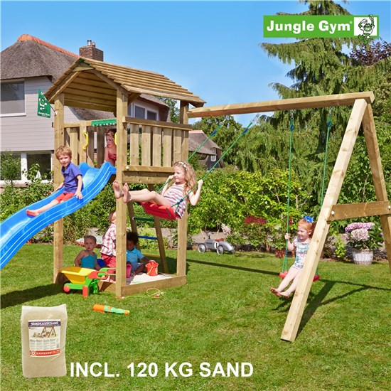 Legetårn komplet Jungle Gym Cottage inkl. Swing module x'tra, 120 kg sand og blå rutschebane