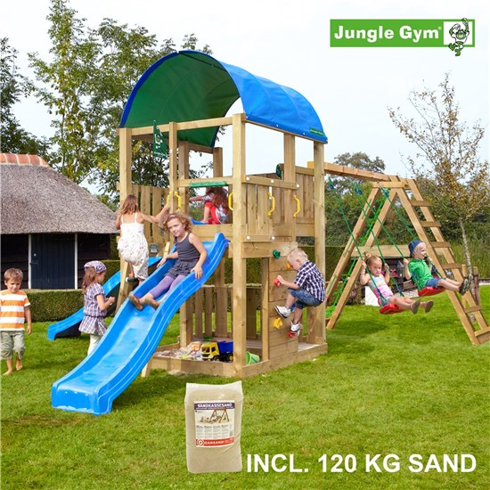 Legetårn komplet Jungle Gym Farm inkl. Climb module x'tra, 120 kg sand og blå rutschebane