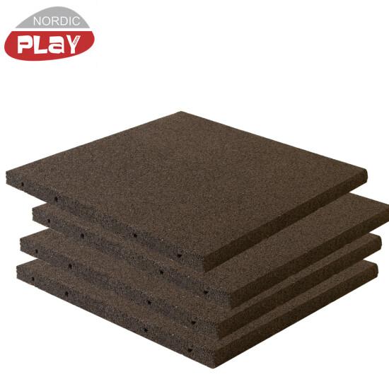 Gummiflise 50 x 50 x 3 cm sort NORDIC PLAY Active 30 m2 - 120 stk.