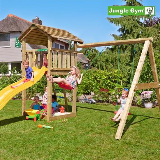 Legetårn komplet Jungle Gym Cottage inkl. Swing module x'tra og rutschebane