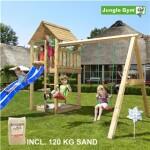 Legetårn komplet Jungle Gym Cabin inkl. Swing module x'tra, 120 kg sand og blå rutschebane