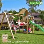 Legetårn komplet Jungle Gym Cubby inkl. Swing module x'tra, 120 kg sand og grøn rutschebane
