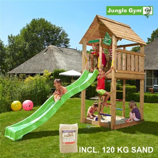 Legetårn komplet Jungle Gym Cabin inkl. 120 kg sand og grøn rutschebane