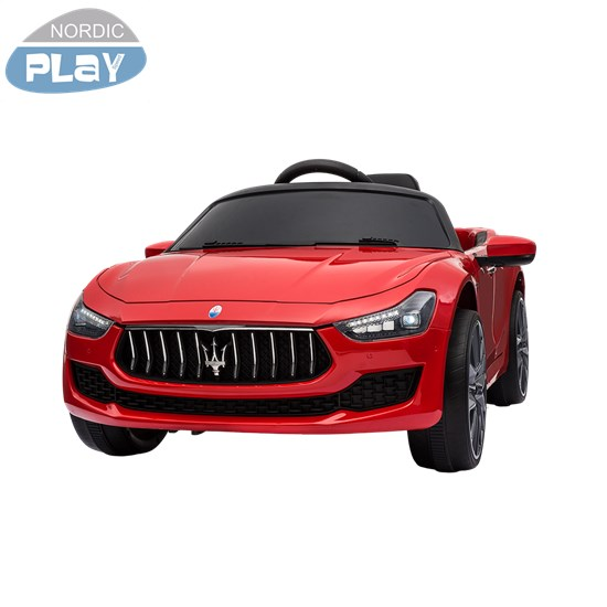 Elbil Maserati Ghibli, 12V med gummihjul og lædersæde NORDIC PLAY