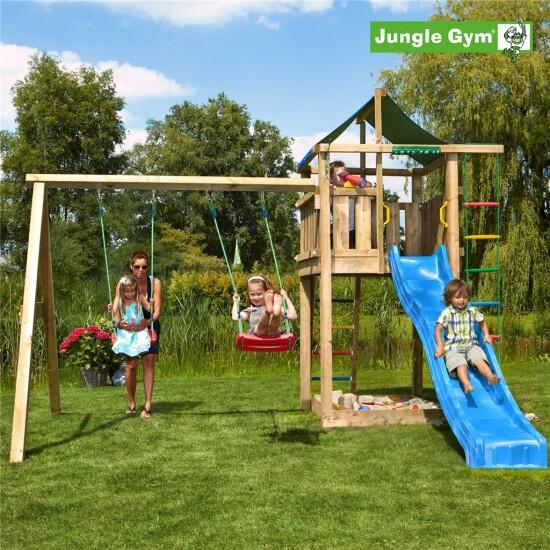 Legetårn komplet Jungle Gym Lodge inkl. Swing module x'tra og rutschebane
