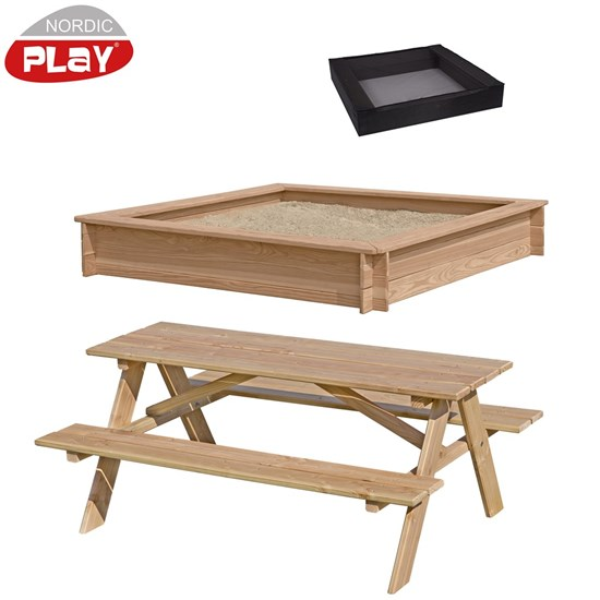 NORDIC PLAY sampak sandkasse, børne bordbænkesæt i lærk og sandkassenet