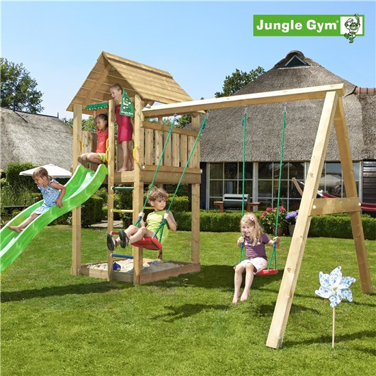 Legetårn komplet Jungle Gym Cabin inkl. Swing module x'tra og rutschebane