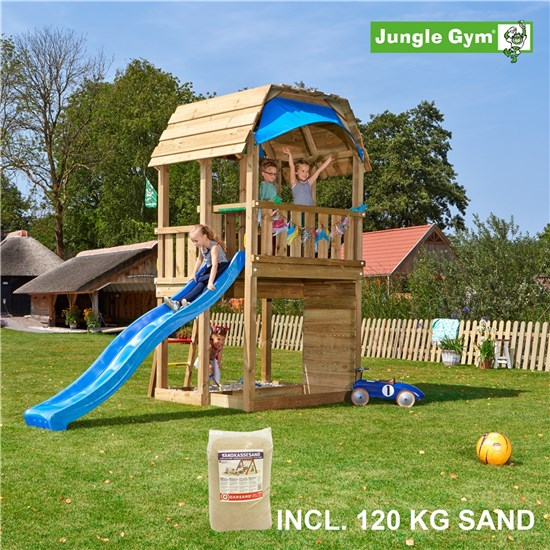 Legetårn komplet Jungle Gym Barn inkl. 120 kg sand og blå rutschebane