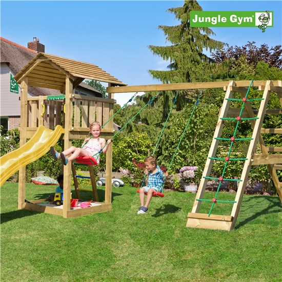 Legetårn komplet Jungle Gym Cottage inkl. Climb module x'tra ekskl. rutschebane