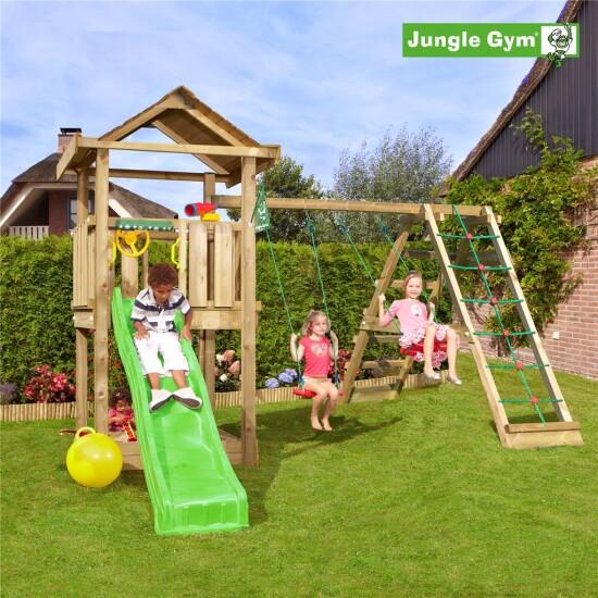 Legetårn komplet Jungle Gym House inkl. Climb module x'tra og rutschebane