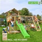 Legetårn komplet Jungle Gym Chalet inkl. Climb module x'tra, 120 kg sand og grøn rutschebane