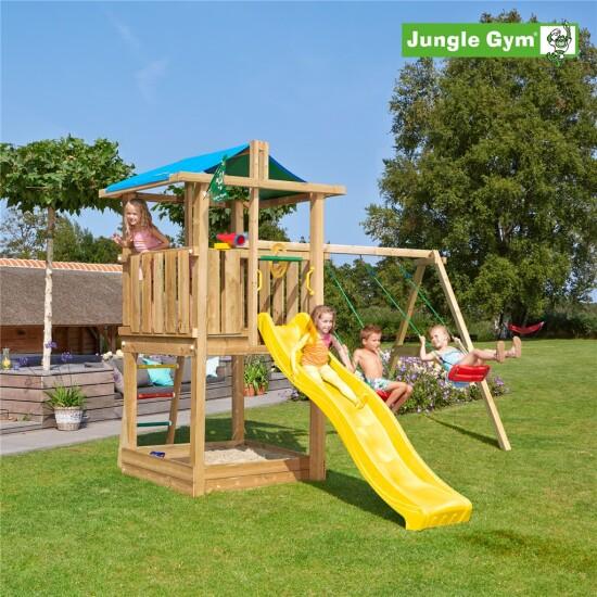Legetårn komplet Jungle Gym Hut inkl. Swing module x'tra og rutschebane