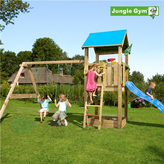 Legetårn komplet Jungle Gym Castle inkl. Swing module x'tra ekskl. rutschebane
