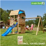 Legetårn komplet Jungle Gym Barn inkl. Swing module x'tra, 120 kg sand og blå rutschebane