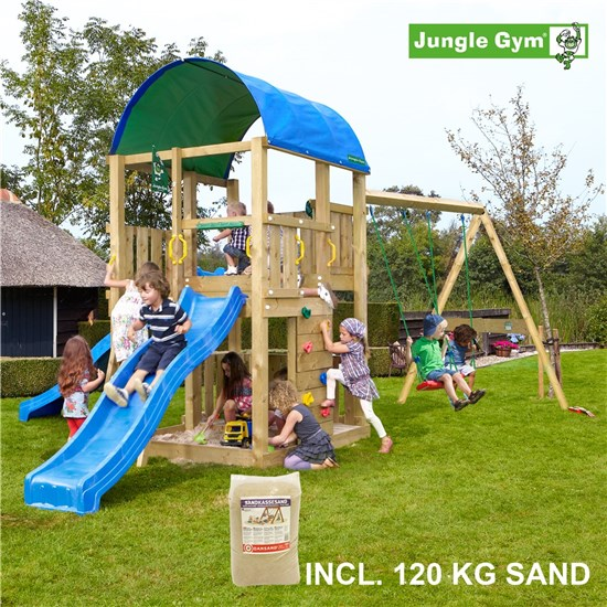 Legetårn komplet Jungle Gym Farm inkl. Swing module x'tra, 120 kg sand og blå rutschebane
