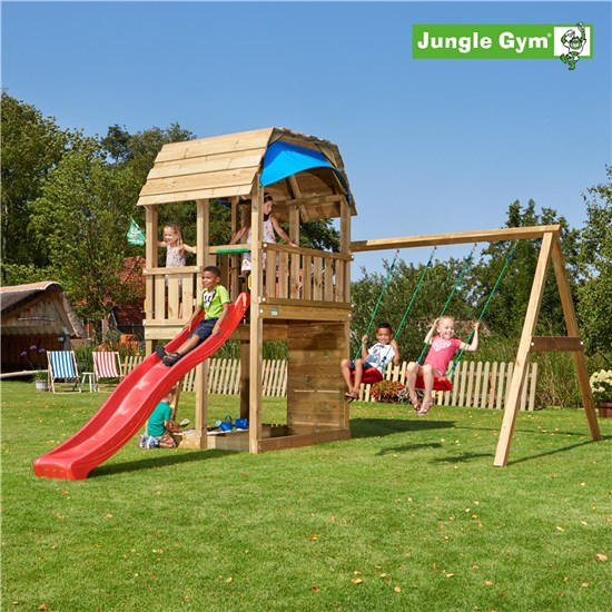 Legetårn komplet Jungle Gym Barn inkl. Swing module x'tra og rutschebane