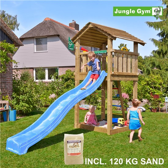 Legetårn komplet Jungle Gym Cottage inkl. 120 kg sand og blå rutschebane