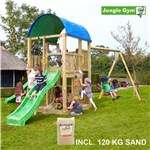 Legetårn komplet Jungle Gym Farm inkl. Swing module x'tra, 120 kg sand og grøn rutschebane