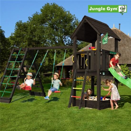 Legetårn komplet Jungle Gym Club inkl. Climb module x'tra ekskl. rutschebane, grundmalet sort