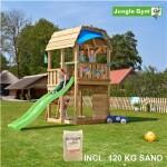 Legetårn komplet Jungle Gym Barn inkl. 120 kg sand og grøn rutschebane
