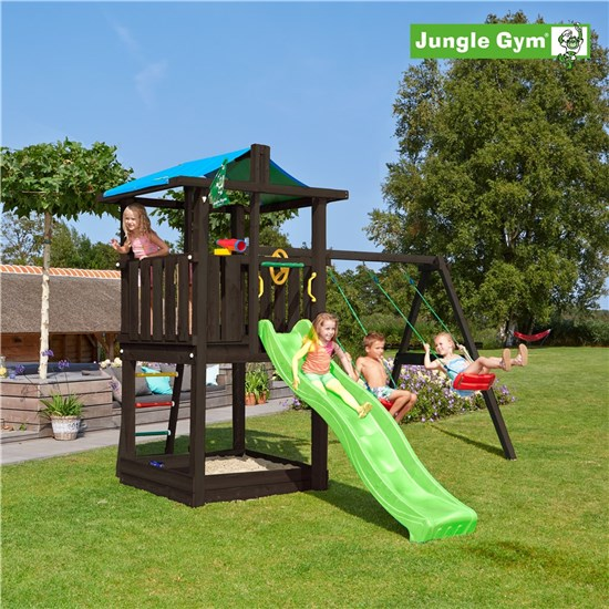 Legetårn komplet Jungle Gym Hut inkl. Swing module x'tra og rutschebane, grundmalet sort