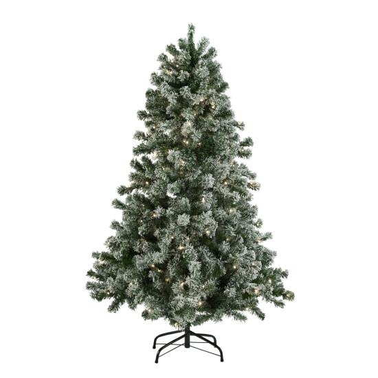 Kunstigt juletræ 150x100 cm med sne og lys