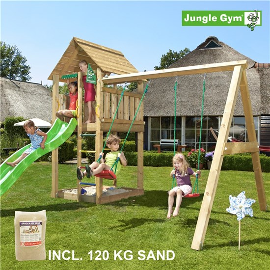 Legetårn komplet Jungle Gym Cabin inkl. Swing module x'tra, 120 kg sand og grøn rutschebane
