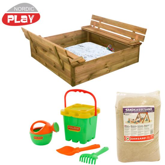 NORDIC PLAY Sandkasse med bænk & låg, med 240 kg sand og grønt strandsæt